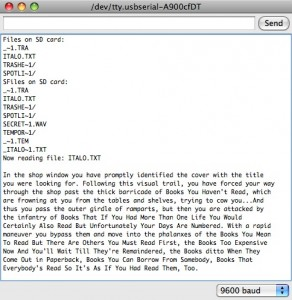 Output text from Arduino SD reader