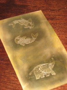 Etched animals